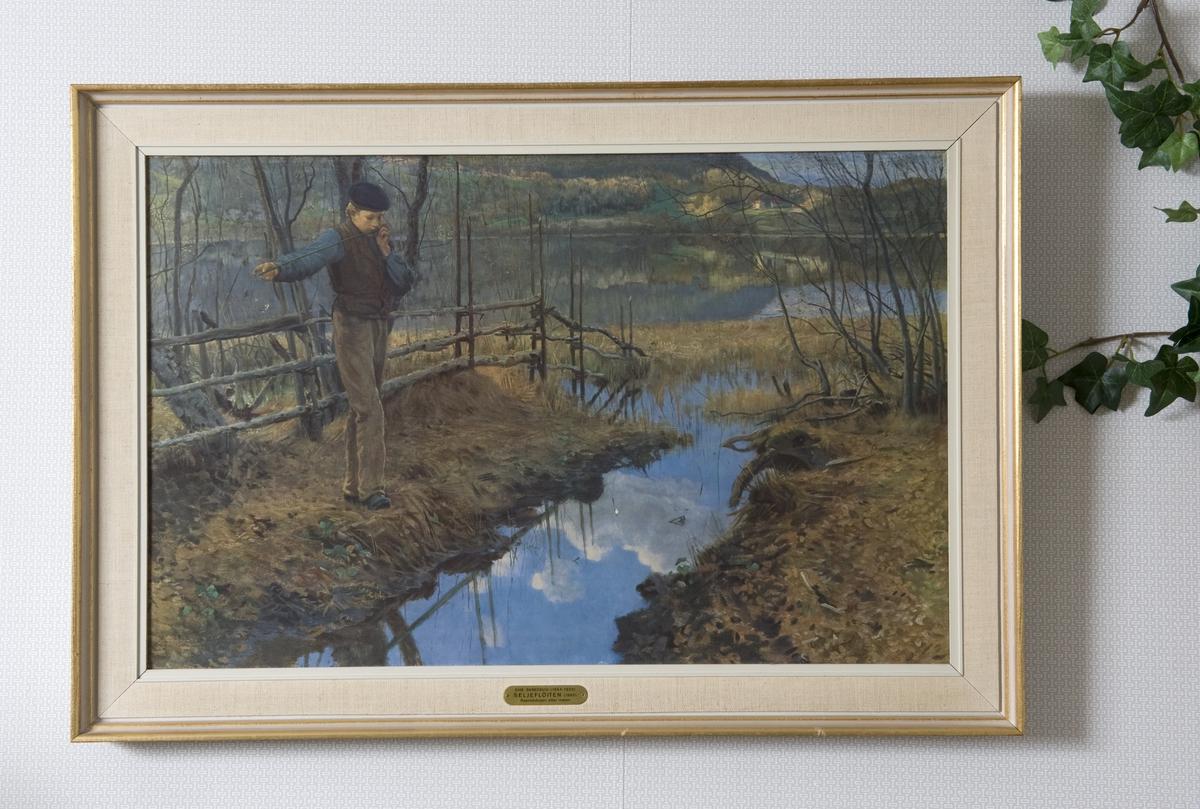 """Reproduksjon av maleriet """"Gutten med seljefløyten"""" av Christian Skredsvig. Bildet henger i utstillingen """"Teak, TV og tenåringer - 1965"""" i OBOS-gården, Wessels gate 15."""