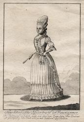 """Gustaf III:s nationella dräkt. """"Neue Schwedische Kleidertracht der Frauenzimmer."""" Dam i svenska dräkten. Gravyr av okänd kostnär, trol. ca 1780."""