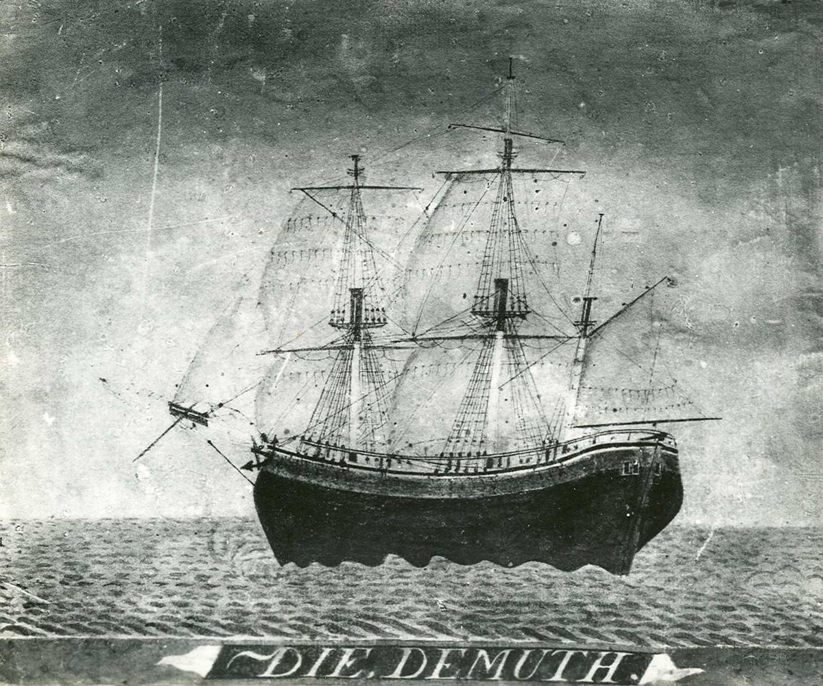 """Fartøybilder fra Agder  """"Die Demuth"""" Type: bark  Kilde: Fartøybilder boks 19 Opprinnelig filreferanse i eDepoet: F0115-AUSTAGDER\DIE DEMUTH a"""