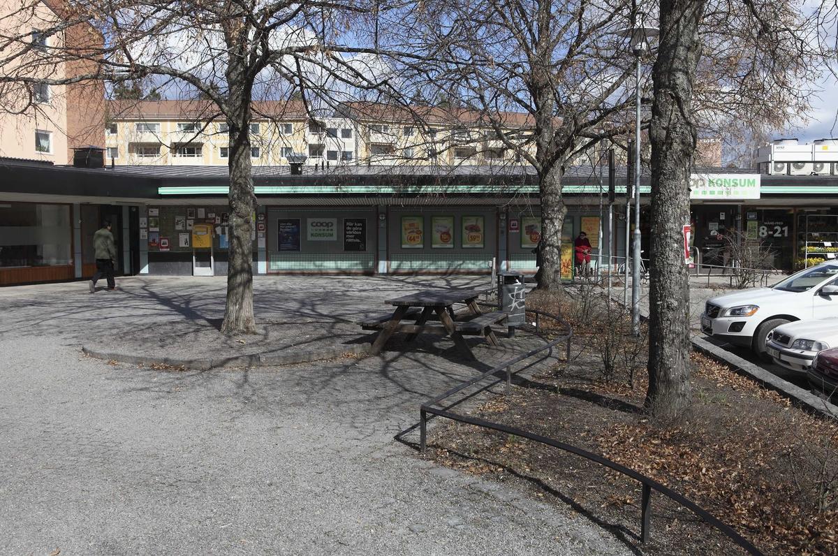 Smidesräcke runt rabatt med träd, Västertorg, kvarteret Graniten, Eriksberg, Uppsala 2010