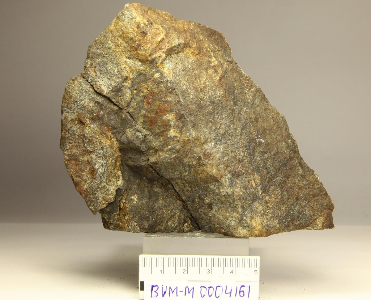 Rusten stein med tynn sølvåre. Askebekk gruve syd for Saggrenda.