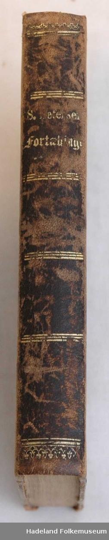 Stiv perm, Brun skinnrygg med gulltrykk, brun og gul perm