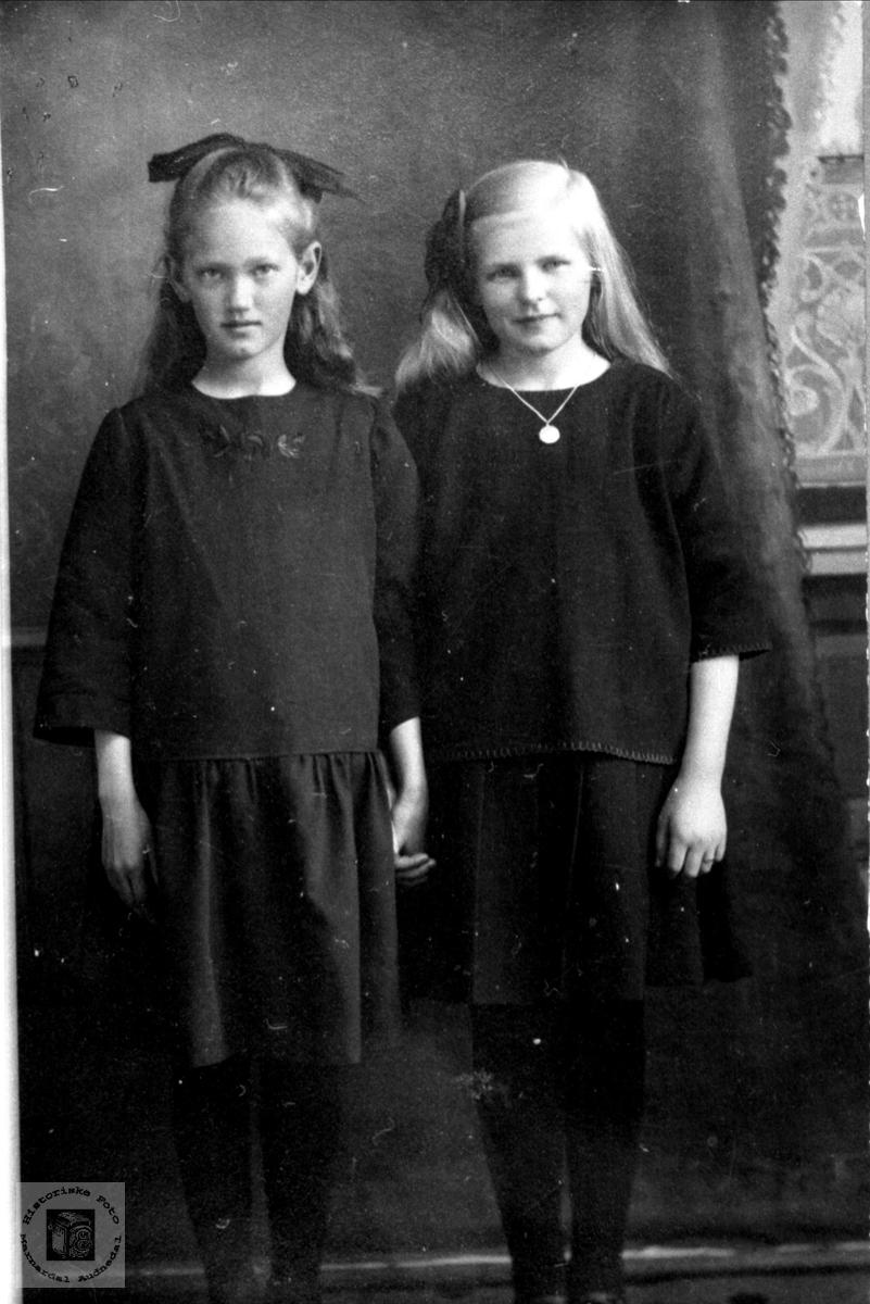 Portrett av to gode venniner, Kristi Skeibrok og Kari Foss fra Bjelland i finstasen.