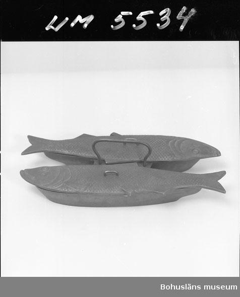 Ur handskrivna katalogen 1957-1958: Stekform, järn (två fiskar) L. 24,5 Br. 14. Lockens L (vardera) 30. Obetydligt rostad. Hel.  Lappkatalog: 60