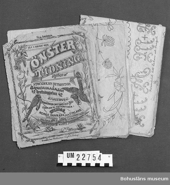 394 Landskap UPPLAND  Mönstertidning. 14:de Årgången N:o 1 Januari 1898. Blom och fågelmotiv på gult papper.  Neg. UM 135:3.