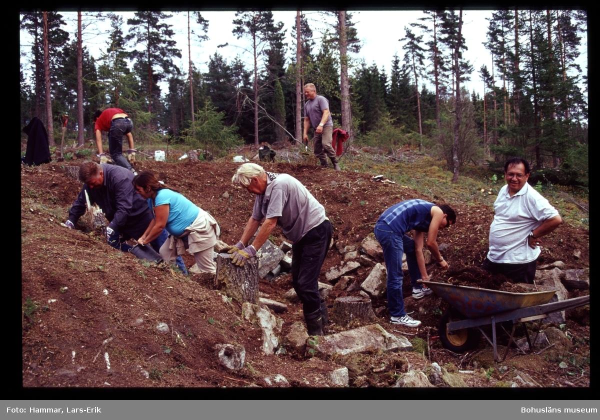 Arkeologisk undersökning på Snarsmon 2004. Bilden visar utgrävning av det större bostadshuset. Foto: Lars-Erik Hammar, Bohusläns museum.