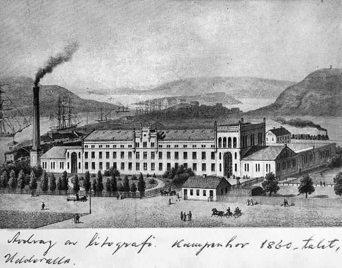 """Text på kortet: """"Avdrag av litografi. Kampenhof 1860-talet. Uddevalla"""""""