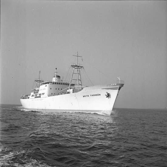 M/S Brita Thordén DWT.3.480 Rederi AB Aranäs, Uddevalla Kölsträckning Valmet Finland Nr. 156 Leverans 57-03-29 Kyllastfartyg