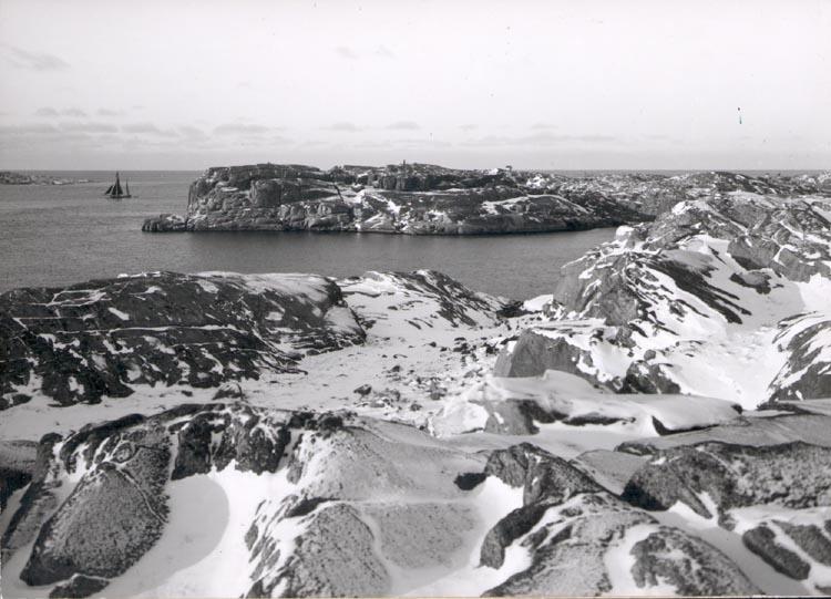 """Noterat på kortet: """"SMÖGEN."""" """"HÄSTEN"""". """"FOTO (B55) DAN SAMUELSON 1924. KÖPT AV DENS. DEC. 1958""""."""
