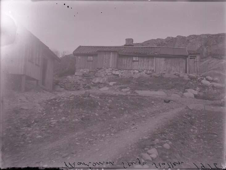 """Enligt text som medföljde bilden: """"Bläckslagare Larsson """"Skada."""" Text på plåten: """"Marianes stuga 1916."""""""