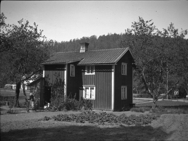 """Enligt text som medföljde bilden: """"Småland. Stuga vid Norra Hammar."""" ::"""