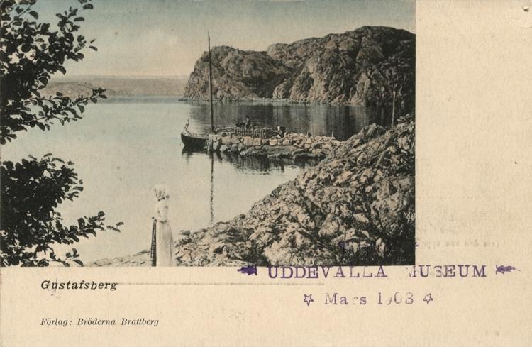 """Tryckt text på vykortets framsida: """"Gustafsberg."""""""