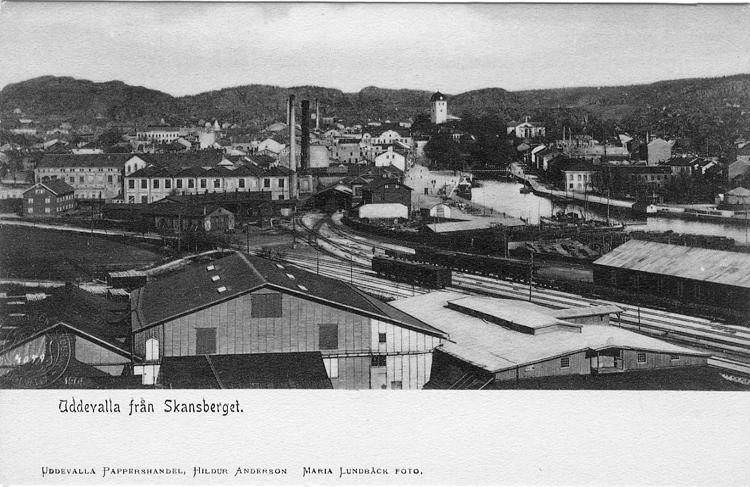 """Tryckt text på vykortets framsida: """"Uddevalla från Skansberget.""""  ::"""