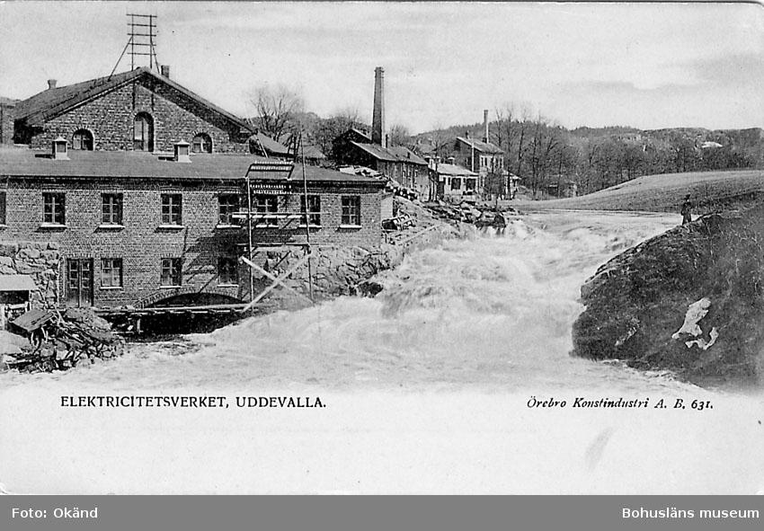"""Postkort. """"Elektricitetsverket Uddevalla."""""""