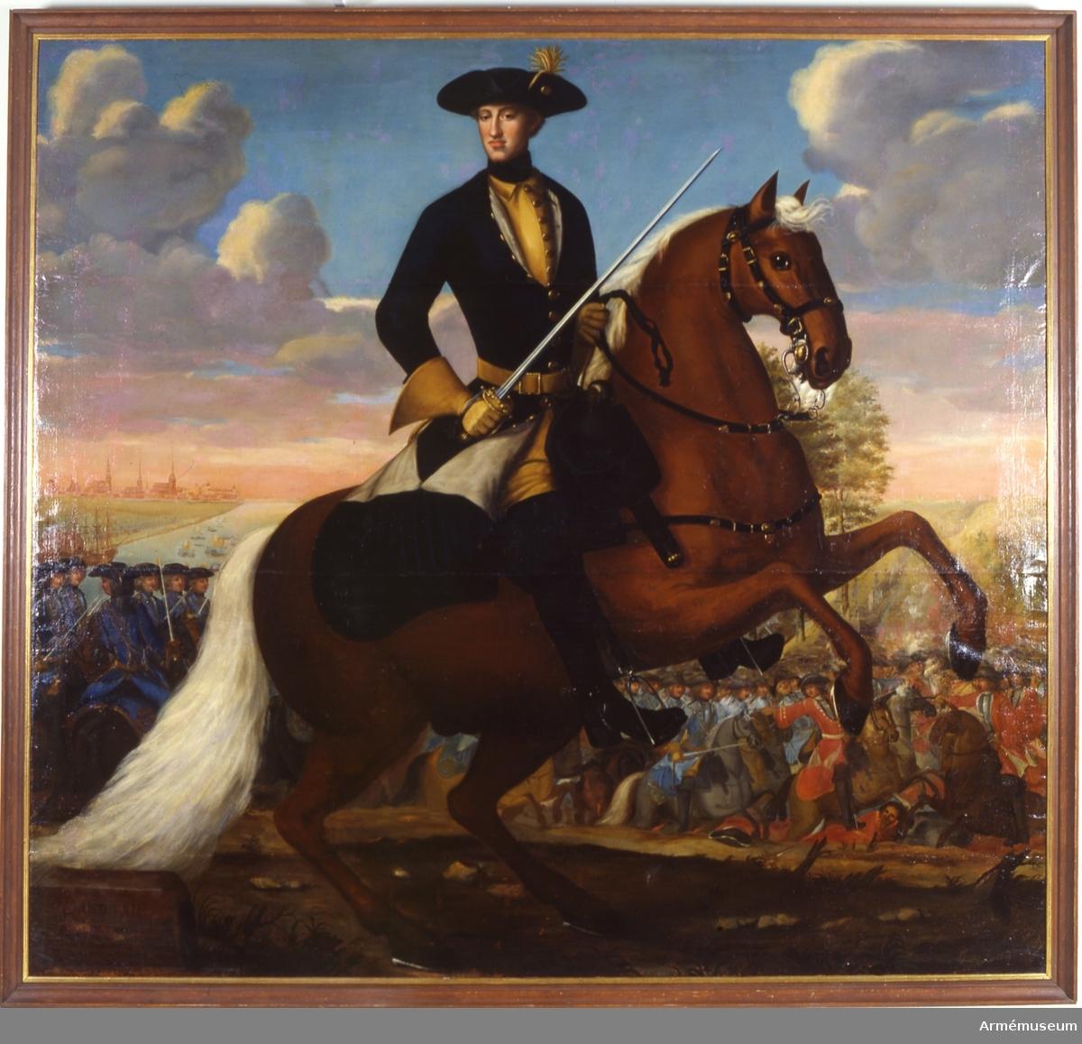Grupp M I. Målning signerad av J. H Wedekind föreställande Karl XII till häst i fält.