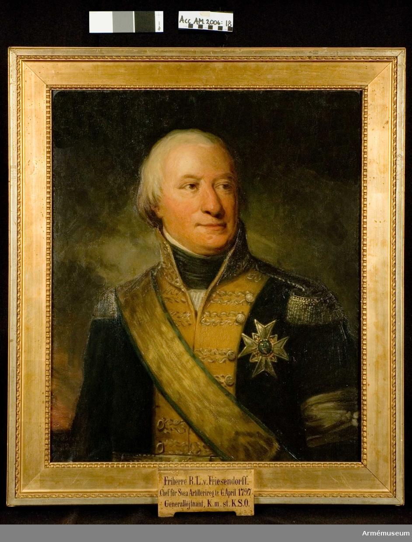 Porträtt, A L von Friesendorff, regementschef A1 1797-04-06  Adolf Ludvig von Friesendorff (1746-1810) var överste och chef för Jönköpings regemente 1790-1797, chef för Svea artilleriregemente 1797, sekundchef för Svea livgarde 1797-1802, blev generalmajor 1799, chef för Kalmar regemente 1802-1805 och chef för Västmanlands regemente 1804-1810 samt generallöjtnant 1809. Han är här avbildad som sekundchef vid Svea livgarde i 1802 års uniform. 2016-05-06 MM.