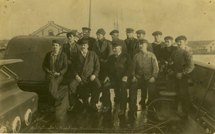 """Notering på kortet: S/S """"Atalanta"""" Wasberg. Hudiksvall den 16 Nov. 1915."""