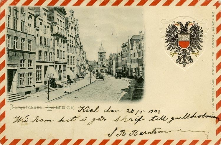 Notering på kortet: Burgstrass, Lübeck.