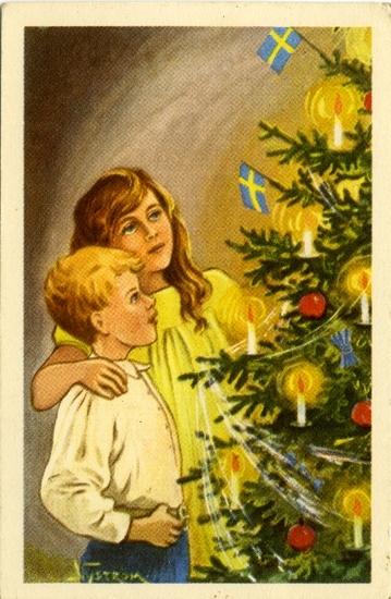 """Kort: """"God Jul och Gott Nytt År"""". Barn som står och tittar på julgranen."""