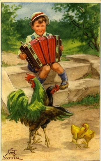 """Kort: """"Glad Påsk tillönskas"""". Pojke som sitter på en trappa och spelar dragspel."""