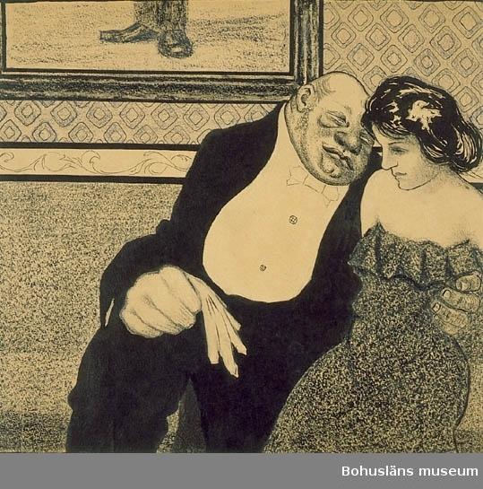 """Montering/ram: Passepartout, A.t.""""Hon: Nå hvad sade Pappa?  Han: Han tyckte att jag var bra gammal att tänka på äktenskap men då talte jag om att min far som gifte sig vid 55 års ålder ändå fick 8 välskapade barn, så inte är jag för  gammal inte."""" antecknat med blyerts. """"Äldre man och ung flicka."""" Tillkomstort Transtrand. För uppgifter om konstnären Ragnar Ljungman, se RL001."""