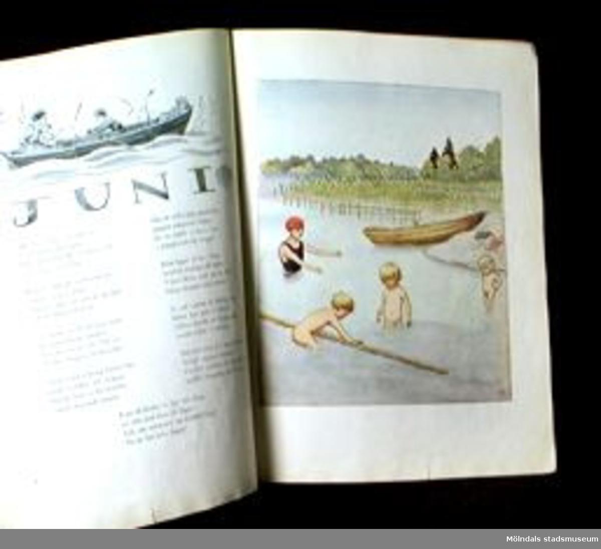 """""""Månaderna"""". Sångsamling med teckningar av Elsa Beskow. 42 sidor. Några av de sista sidorna är bortklippta."""