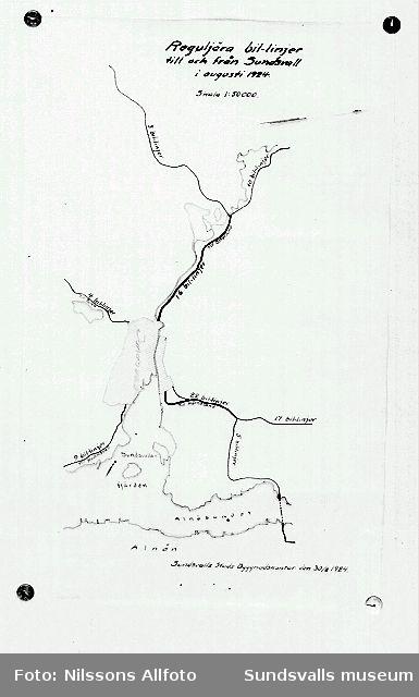 Karta över vägar till och från Sundsvall.