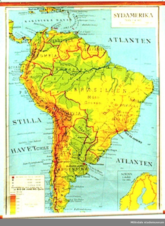 Skolkarta märkt nr 19.Sydamerika.