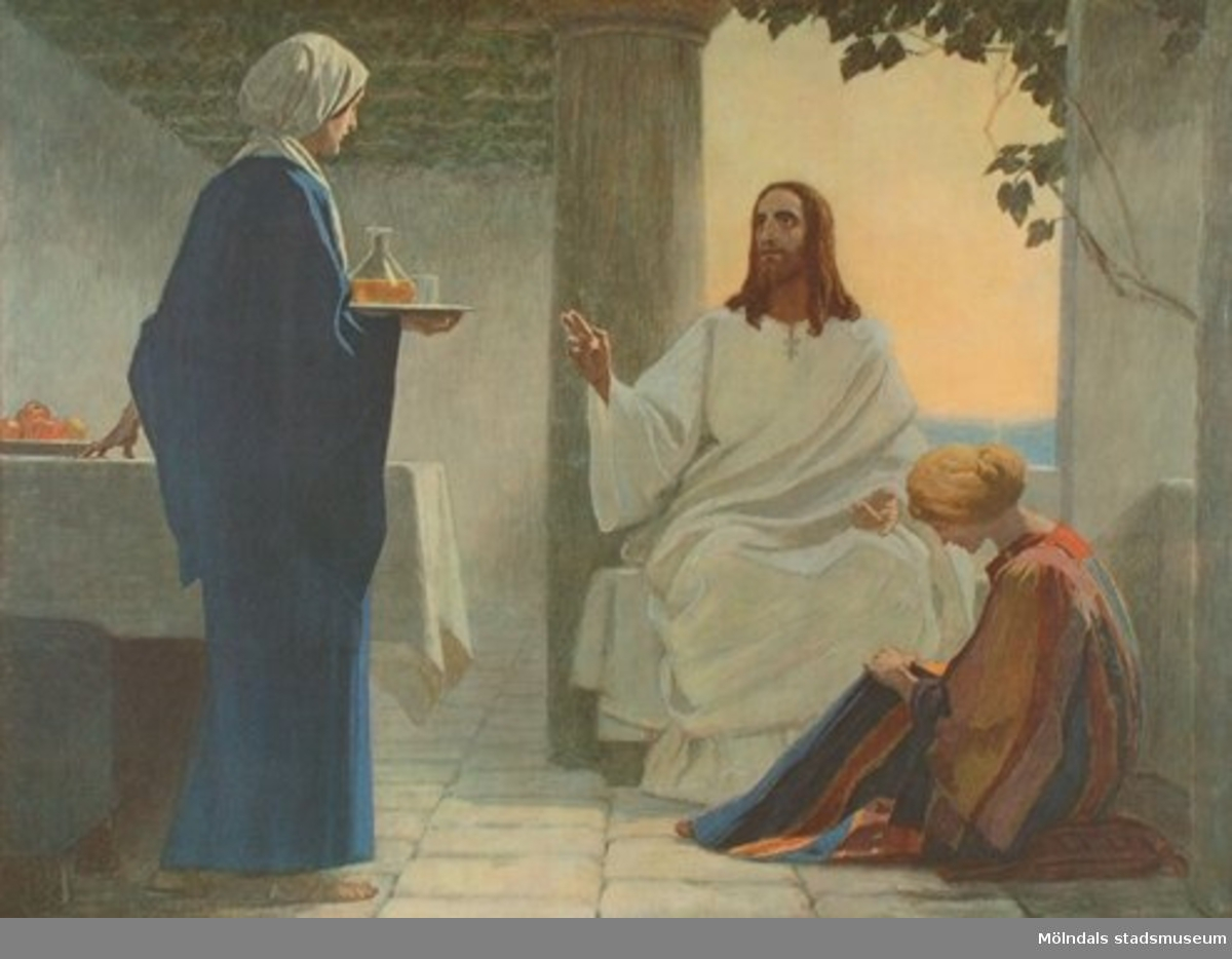 Kristendomskunskap:Marta och Maria.Bibeln i bild nr. 33.