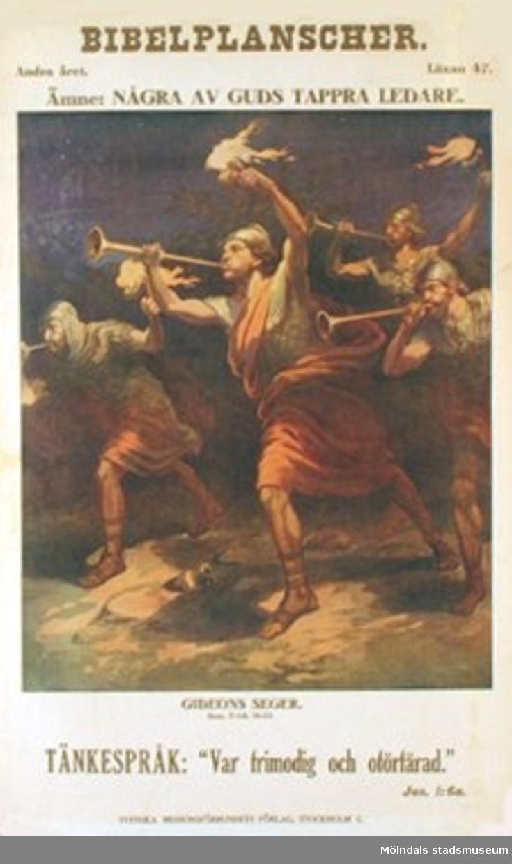 Kristendomskunskap.Bibelplanscher: Några av Guds tappra ledare. Gideons seger (Dom 7: 1-8, 16-23).