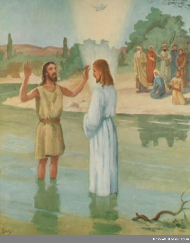 Kristendomskunskap.Jesu dop. (Matt. 3:13-17).Tryckt 1949 av Victor Pettersons bokbinderi AB, Stockholm.