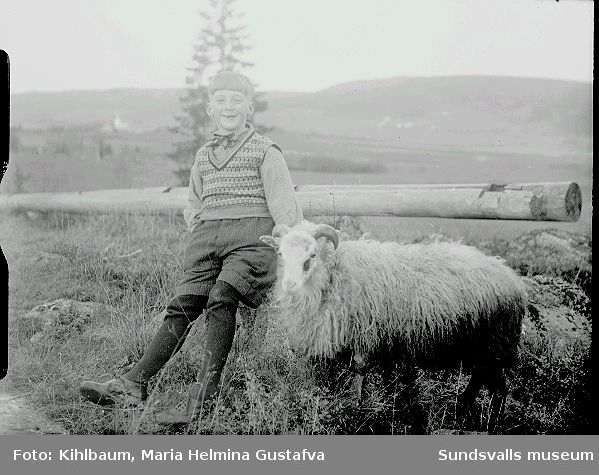 Pojke sitter på sten med ett får bredvid sig.