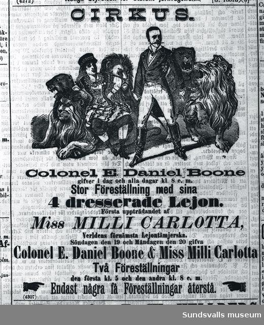 Annons för en kringresande lejondressör.