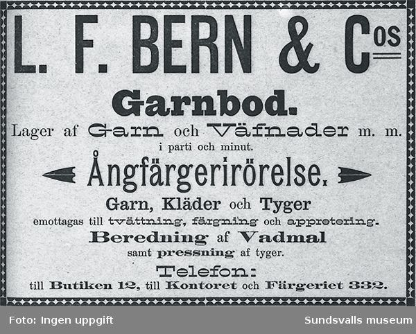 Annons för L F Berns garnbod och ångfärgeri.