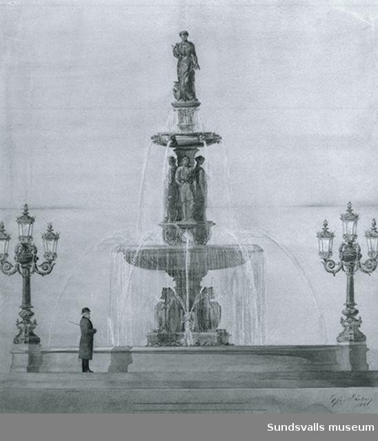 Skiss till fontänen i Vängåvan av Sofia Gissberg