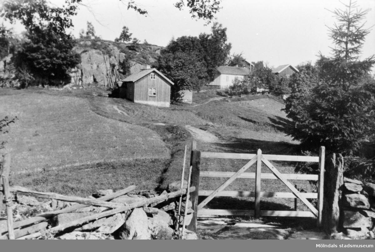 Ett foto mot Långö på 1910-talet, Martin Andersson bostad är riven, Långös stamfastighet är ombyggd, grinden är borta.