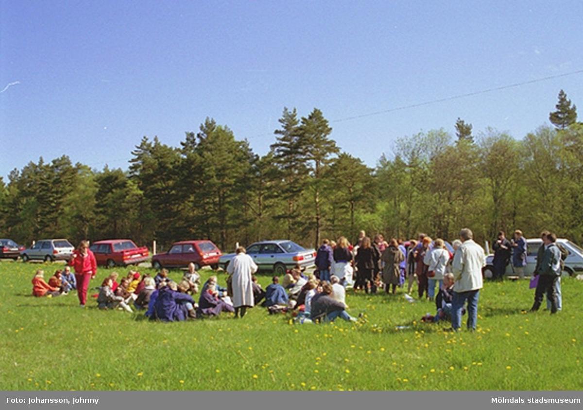 Personal från Kultur och fritid sitter eller står i gräset. I bakgrunden syns parkerade bilar utefter en väg.