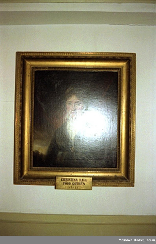 Avfotograferad porträttmålning på Christina Hall (född Gothén).John Halls eller Carlsbergs teckningar.