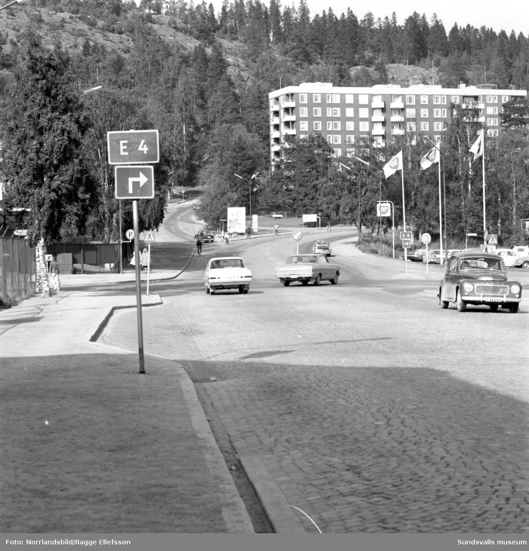 Korsningen vid Idrottsparken, från Storbron och upp mot Stadsbacken.