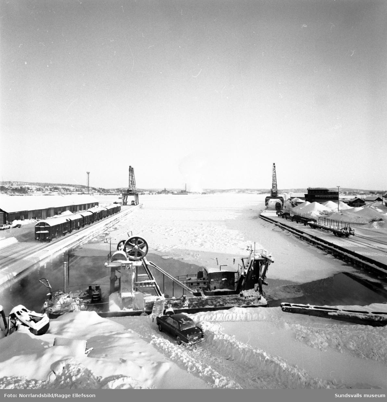 Hamnen är tom på båtar i början av februari den rekordkalla vintern 1966. Isläget i norr satte stopp för all sjötrafik. Samma dag som de här bilderna tas i Sundsvall uppmättes rekordnoteringen -53 grader i Vuoggatjålme, Lappland.