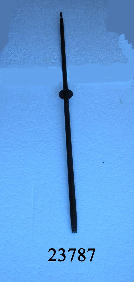 Änterpik, svartmålat skaft av trä med doppsko,  förstärkt med skaftskenor som går en bit upp på skaftet. Spetsen 13 cm lång, holken kort med långa skaftskenor. På mitten av skaftet rund parerskiva.