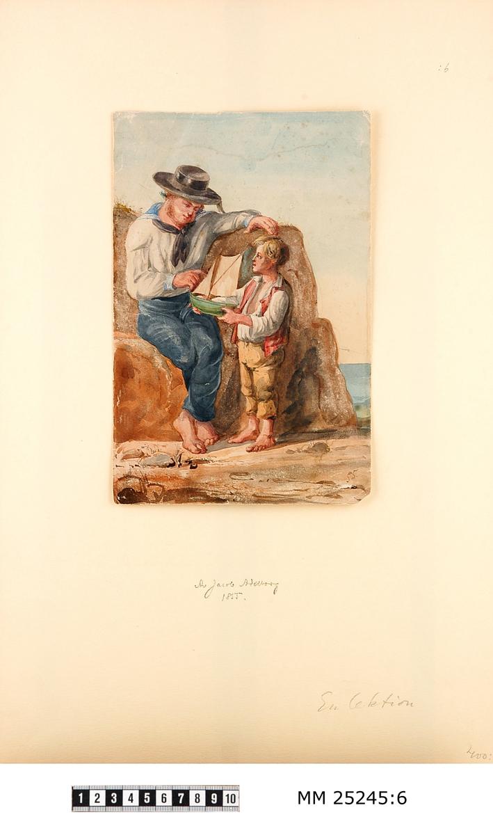 """Akvarell föreställande en båtsman i bredbrättad hatt och blåkrage som håller lektion för en liten pojke med en modell av en segelbåt i handen. Bilden signerad i högre hörnet: """"55"""". Monterad på vitt papper med skrift: """"Av Jacob Adelborg 1855, En lektion""""."""
