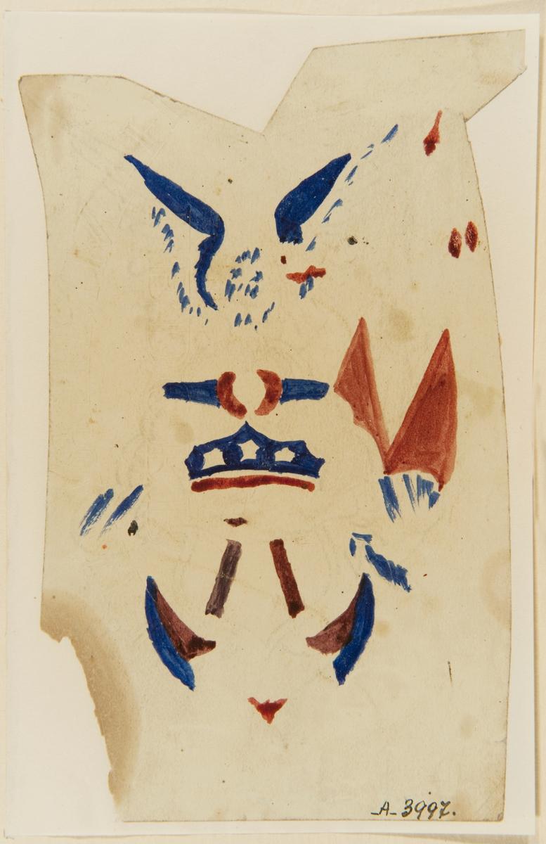 Tatueringsförlaga. Schablon (?) av samma motiv som SB 1103: Två händer i ett handslag framför en amerikansk sköld och ett ankare på vilket en örn sitter. I bakgrunden till höger en amerikansk flagga.