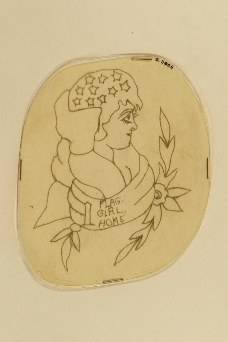 """Tatueringsförlaga. Porträtt av kvinna i profil, svept i den amerikanska flaggan och en banderoll med påskriften """"1"""" följt av orden """"FLAG"""", """"GIRL"""" och """"HOME""""."""