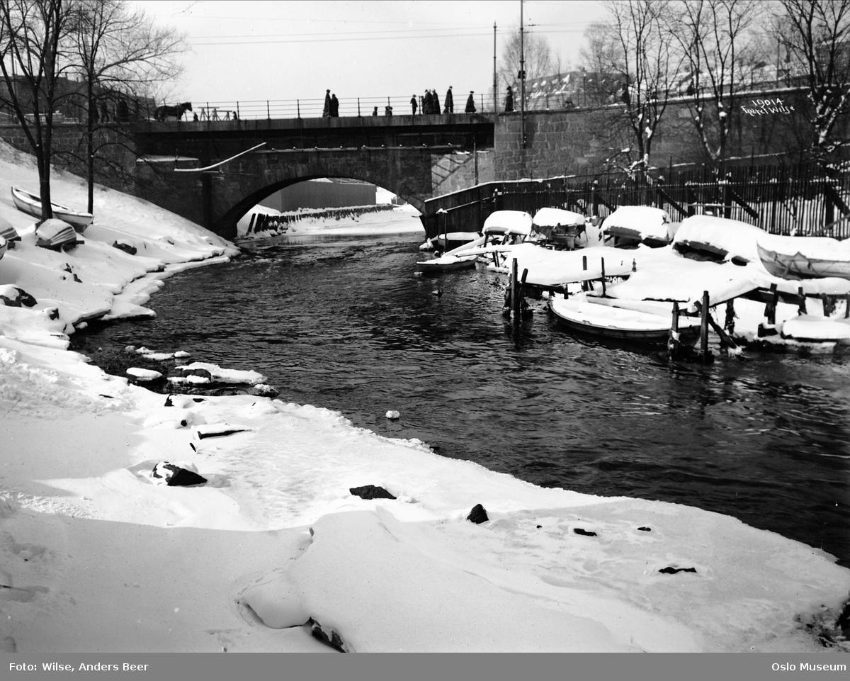 elv, snø, robåter, vinteropplag, bro, mennesker, hest