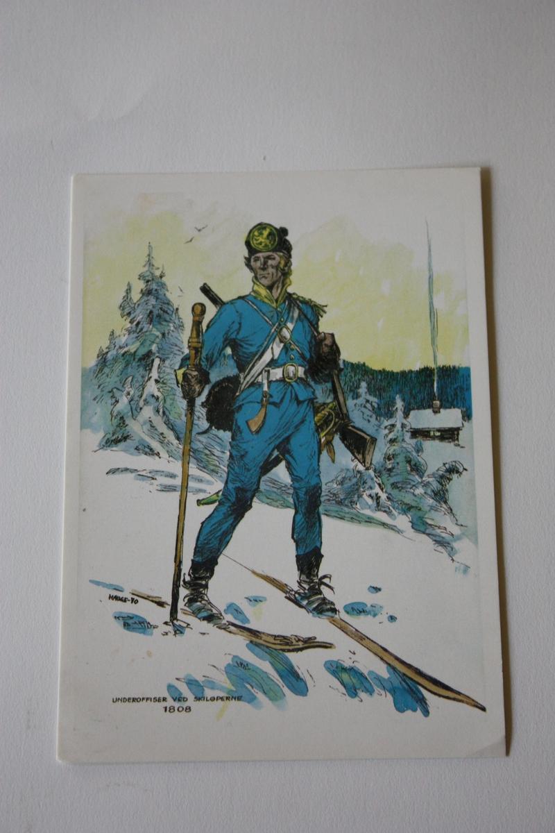 Uniformskledd skiløpar på veg ut av skogen. Hus i bakgrunnen.