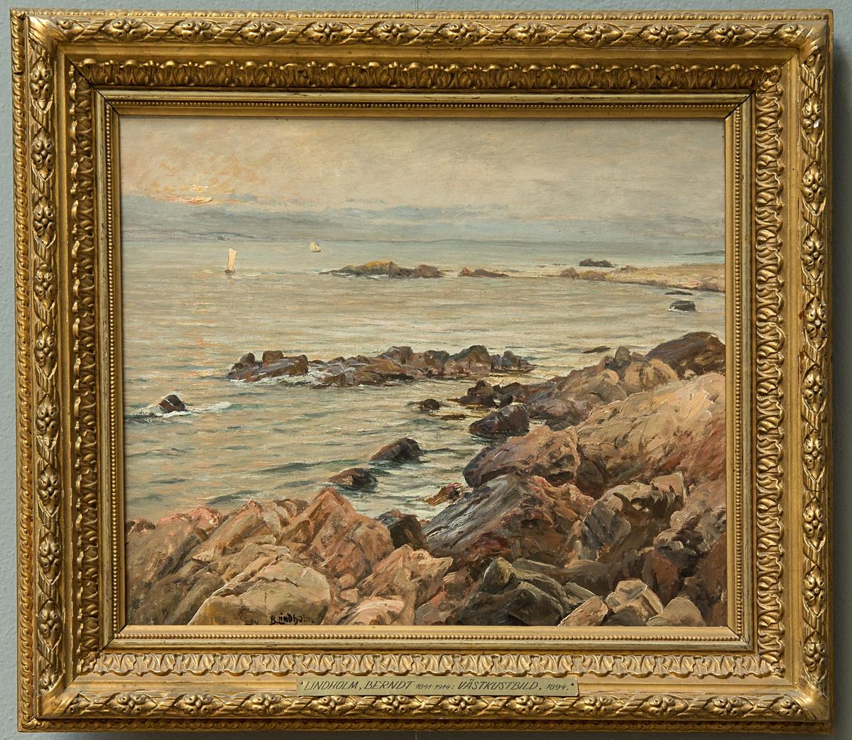 """Oljemålning: """"Västkustbild"""". Sign 1894."""