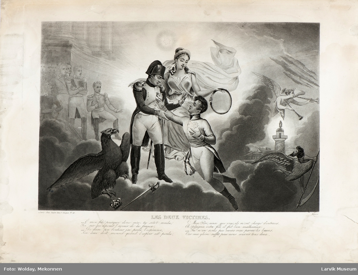 Napoleon omgitt av en kvinne og en mann