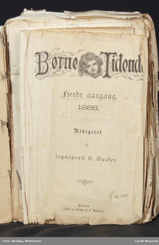 Børnetidende 4. årgang 1888. Stive permer, tråd og limbundet til lær-rygg