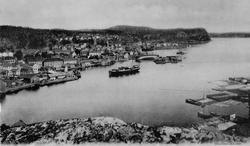 Fra Steinmann ser mann noe av byen og Øya. Skåtøy i bakgrunn